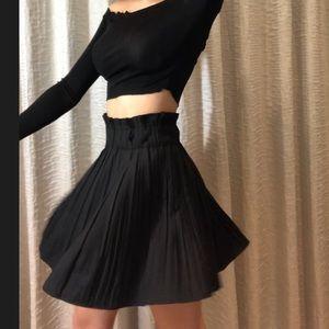 Zara Black Pleated Mini Skirt S